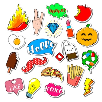 Set of fashion patches, cute badges