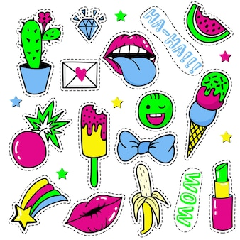 Set of fashion patches, cute pastel badges, fun icons vectorin 90s retro concept