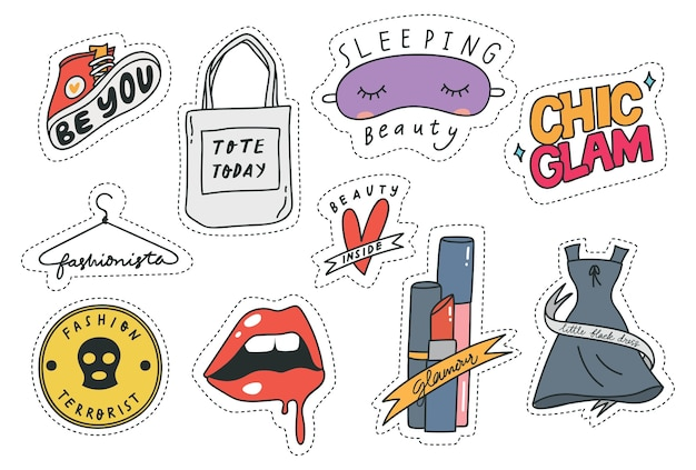 Set of fashion patches