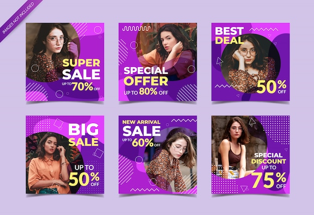Set of fashion sale banners for social media
