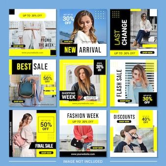 Set of fashion sale social media post