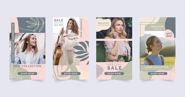 Set di storie di vendita di moda con foto
