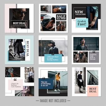 Set of fashion social media posts template