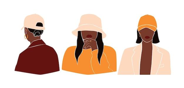 Установите модные стильные абстрактные женщины в модных шляпах. коллекция красивых черных женщин. женский наряд. минимальные векторные иллюстрации, изолированные на белом фоне.