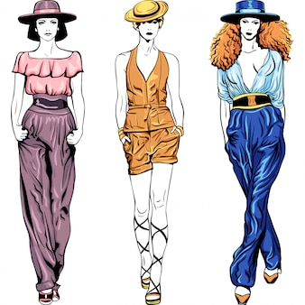 Set fashion top models in trouser suits and hats illustration