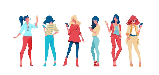 Set of fashion women with phone in hand