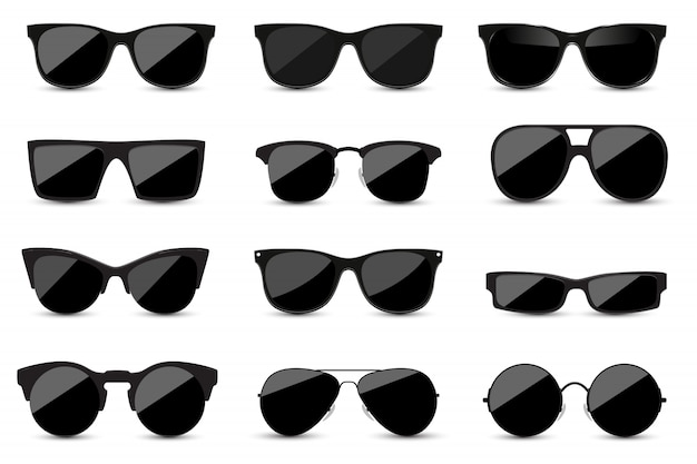 Set of fashionable black sunglasses on white background