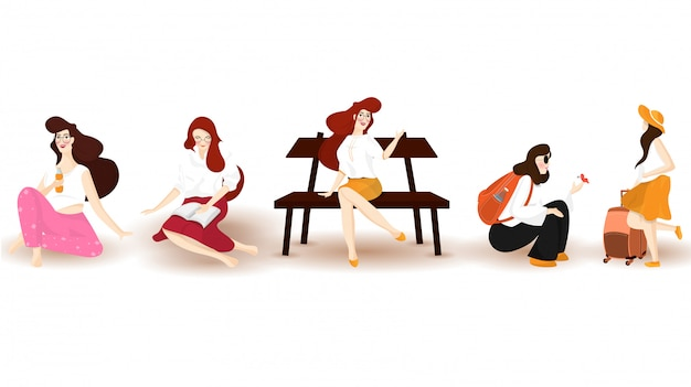 Set of fashionable girl character in different poses.