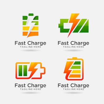 Set of fast charge battery logo design