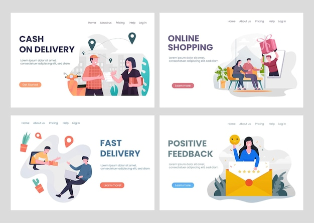 Set of fast delivery service landing page