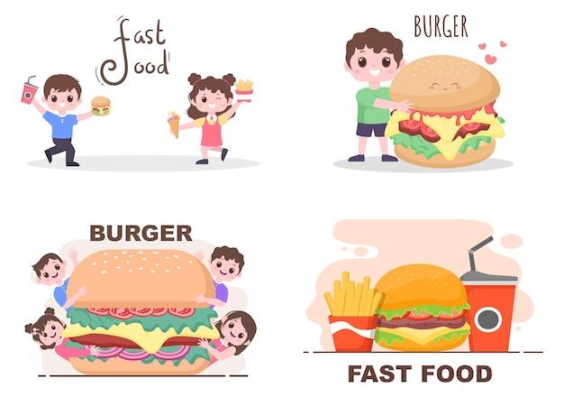Set of fast food background vector illustration