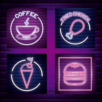 Set fast food and beverage neon light label