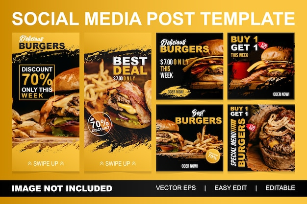 Set fast food burger sale social media post template