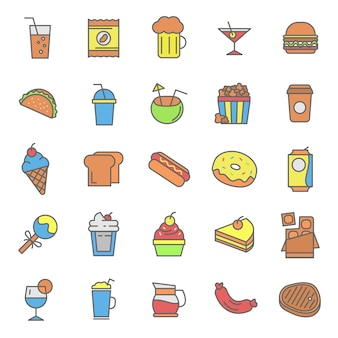 Set of fast food and drink icon