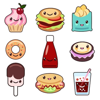 Set di personaggi kawaii di fast food e frutta