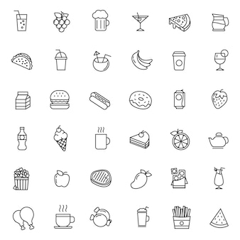 Set of fast food icon vector