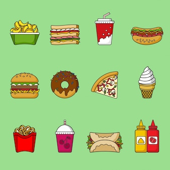 Set of fast food icons. drinks, snacks and sweets. colorful outlined icon collection. sandwich, hamburger, pita, pizza, donut, shake, fries, hot dog, ice cream