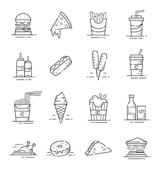 Set of fast food icons with outline style