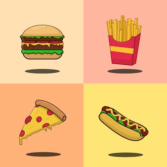 Set of fast food isolated illustration, hamberger, hotdog, french fries, pizza cartoon icon