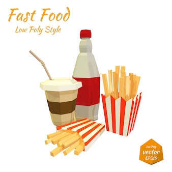 Set of fast food items. illustration