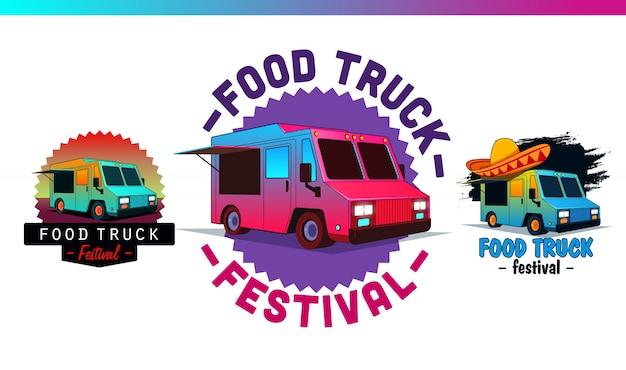 Установите ярлыки и значки быстрого питания. продовольственный грузовик логотип и векторные элементы, знаки отличия, знак, идентичность. иллюстрации и графика уличной еды.