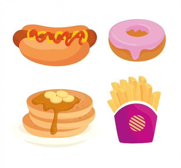 Set of fast food, lunch or meal