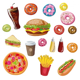 Set of fast food meals.