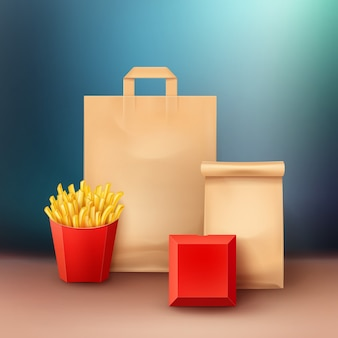 Set of fast food in package for takeaway with french fries