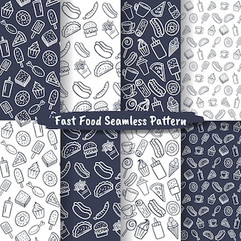 Set of fast food seamless pattern, hand drawn food & drink background