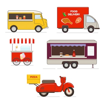 Set of fast food trucks, scooter and fast food cart on white background