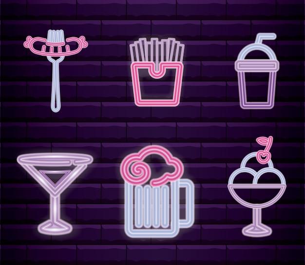 Набор фаст-фуд с напитком неоновый свет этикетки