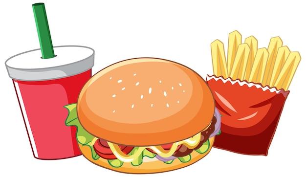 Set di fast food con hamburger e patatine fritte