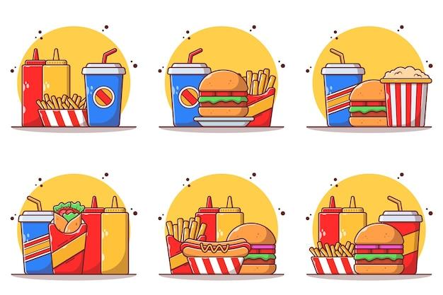 Set of fast or junk food burger