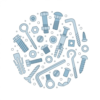 Set of fasteners. bolts, screws, nuts, dowels and rivets in doodle style.