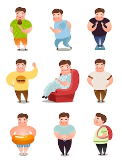 Set of fat man character in different daily situations or actions