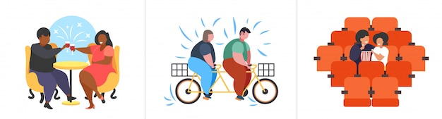 Set fat obese people in different poses overweight mix race male female characters collection obesity unhealthy lifestyle concept