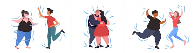 Set fat obese people in different poses overweight mix race male female characters collection obesity weight loss concept