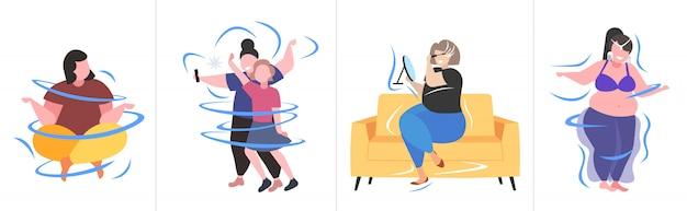 다른 포즈 과체중 남성 여성 캐릭터 컬렉션 비만 건강에 해로운 라이프 스타일 체중 감량 개념에 뚱뚱한 비만 사람들을 설정