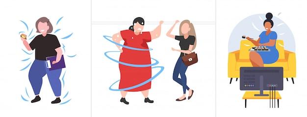 さまざまなポーズで太った肥満の人々を設定します。太りすぎのミックスレース男性女性キャラクターコレクション肥満不健康なライフスタイルコンセプト