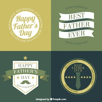 Set of father's day badges in flat design and vintage style