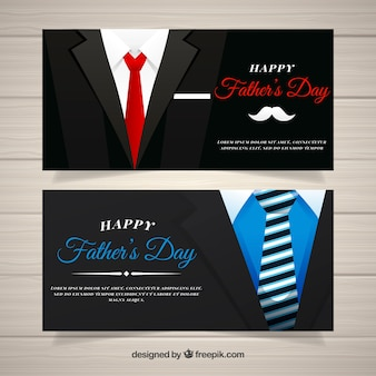 Set of father's day banners with black suits