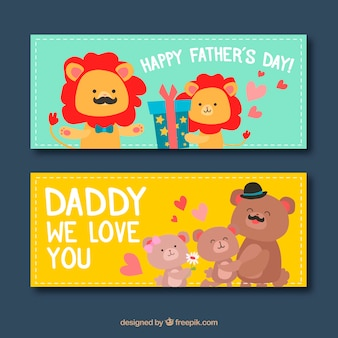 Set of father's day banners with cute animals