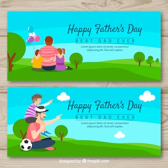 Set of father's day banners with family in the field
