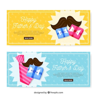 Set of father's day banners with gifts box