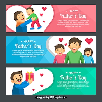 Set of father's day banners with happy family in flat style