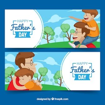 Set of father's day banners with happy family