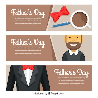 Set of father's day banners with man and suit in flat style