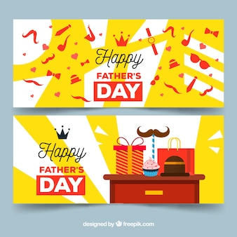 Set of father's day banners with many gifts box