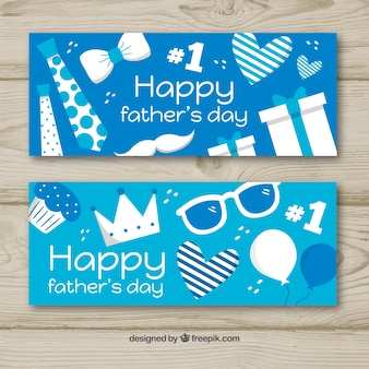 Set of father's day banners with presents