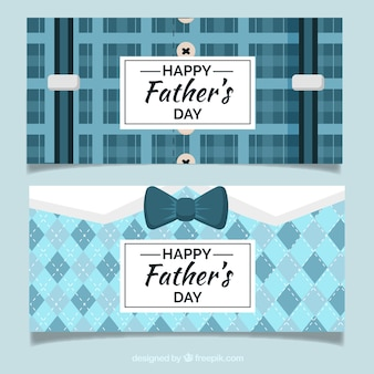 Set of father's day banners  with suit pattern